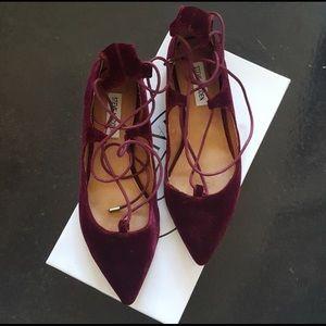 Velvet lace up flats